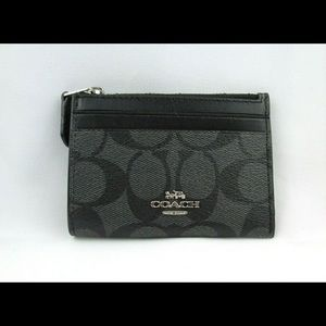 Coach Skinny Mini ID Card Holder Key Chain Black